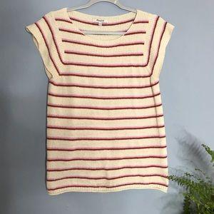 Madewell Cream Red & Pink Striped Knit Medium Top